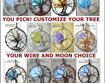 CUSTOM Tree of Life Pendant Full Moon YOUR CHOICE Made to Order Tree of Knowledge Wire Wrapped Jewelry Celtic Tree Celestial Necklace Lunar