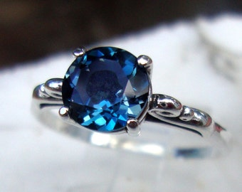 London Blue Topaz 2 ct ring in sterling silver - custom size Fair Trade, eco friendly - ethical - December -Engagement ring
