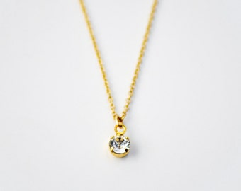 Tiny clear crystal necklace - delicate gold rhinestone necklace - dainty charm necklace - round gem - layering necklace- Tiny rhinestone gld