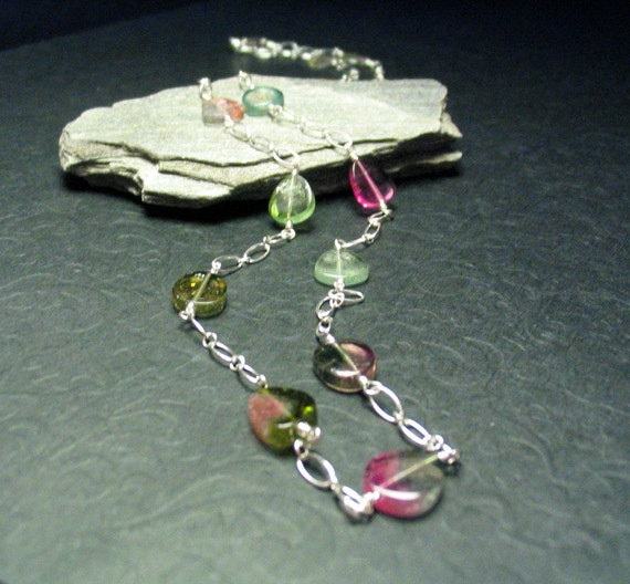 Watermelon Tourmaline Slices Sterling Silver Gemstone Necklace 19 inches long