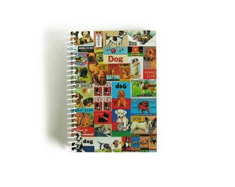 Cute Dogs Spiral Notebook, Blank Sketchbook, Writing Journal Diary A6, Back to School, 4x6 Inches, Pocket, Pretty, Gifts Under 15