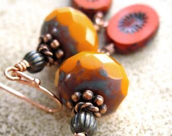 SALE Orange Earrings, Glass Bead Earrings Bright Orange, Red Orange - Earthy Boho Earrings, Fall Fashion, Autumn Jewelry, Halloween Jewelry