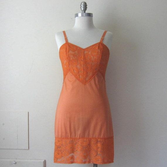 Tangerine Slip Dress Orange Floral Lace Vintage 60s Mini Slipdress