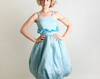 1960s Party Dress - Vintage Powder Blue Floral Brocade Teardrop Skirt Dress - Small Medium - Avant Garde