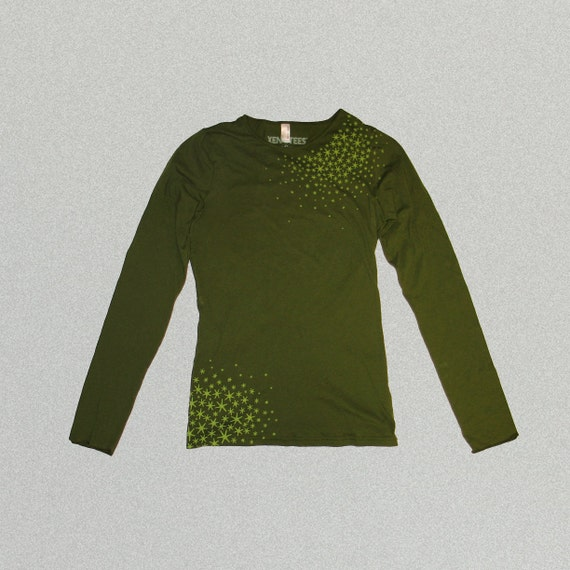 Womens Japanese Star MossShirt in Olive Green, fall fashion, gift for her, american apparel