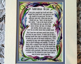 ON LOVE Kahlil Gibran Inspirational Quote Engagement Wedding Anniversary Gift Marriage Family Home Decor Heartful Art by Raphaella Vaisseau