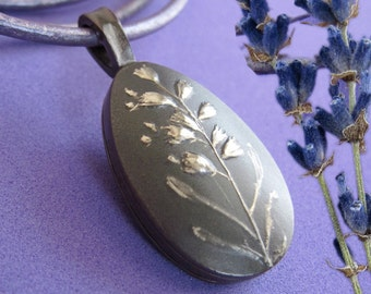 Lavender Sachet Locket, Silver Diffuser Necklace - Lavande Collection