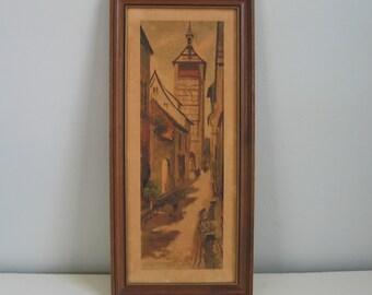 Vintage 1960s Skinny Landscape Print Walnut Wood Frame