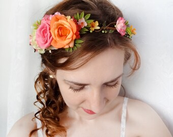 pink flower crown, orange flower crown, floral headband, garden wedding, bridal head piece, wedding flower crown, hot pink flower accessory