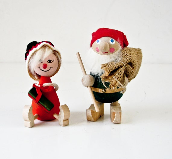 Wooden Swedish Elf Gnome Couple