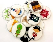 """12 Pirate Buttons.    Sewing Buttons.  Pirate  Sewing Buttons. Buttons for Boys.  Children's Buttons.  Novelty Buttons.  3/4"""" or 20 mm."""