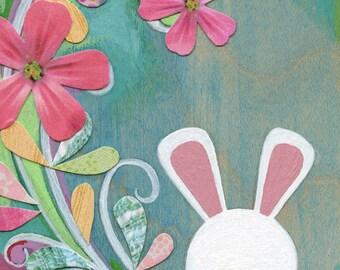 Art for kids room- nursery decor- girls room decor- childrens prints- bunny print