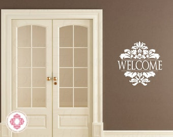 Welcome Sign Vinyl Decal - Elegant Ornate Accent Wall Decal for Entry Way Living Room or Business Entrance 22h x 22w QT0238