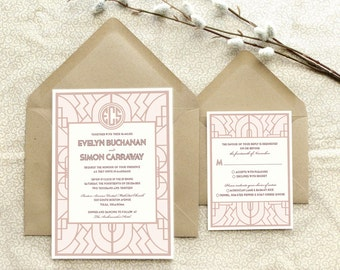 The Buchanan - Ornate Art Deco Wedding Invitation - 1920s Wedding - 1930s Wedding - Gatsby Wedding