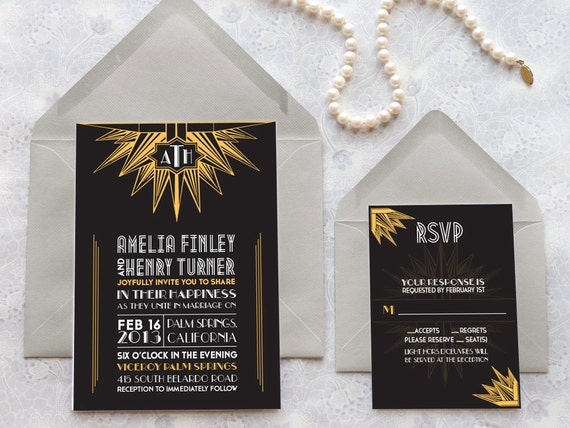 deco noir starburst art deco wedding invitations monogram, Wedding invitations