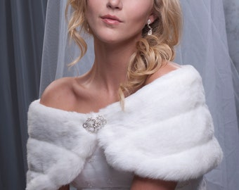 "Custom 8"" wide bridal faux fur shaw shrug Formal shoulder wrap Available in winter white, ivory, cream or black"