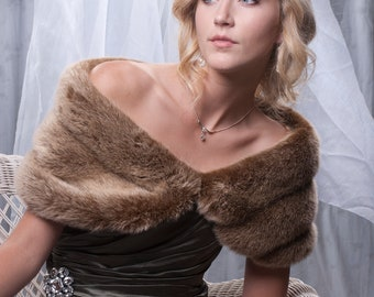 "Custom 8"" wide faux fur Wrap shawl wedding shrug Available in a variety of Specialty faux furs"