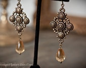 Empress of the Sun Earrings - Antiqued Brass with Faceted Golden Drop Beads