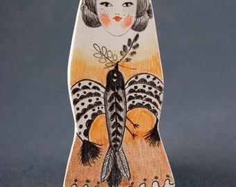 Miniature Girl, Bird Pin, Clay Brooch, Jewelry Shop, Handmade Jewelry, Original Drawing, Whimsical Art, Folk Inspired, Woodland, Nature