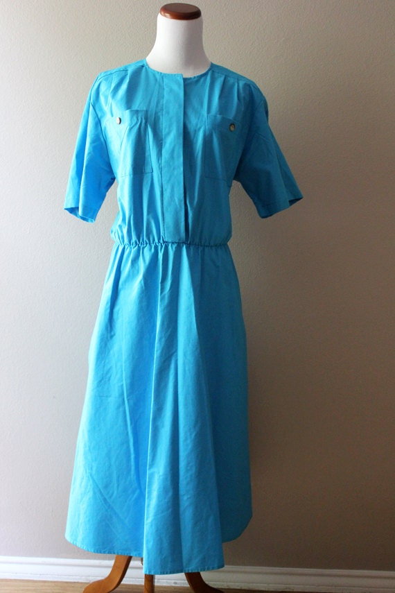75% off SALE Vintage Turquoise Day Dress // Sweet Blueberry Pie LARGE