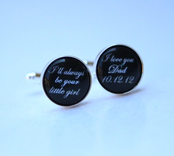 Father of the Bride Cufflinks - Father of bride gift, unique wedding gift for dad - wedding cufflinks Custom quote Custom Color