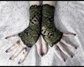Aibreann Lace Fingerless Gloves - Dark Fern Green Leaf Black Gold Highlight - Gothic Vampire Lolita Wedding Fetish Tribal Goth Gypsy Moss