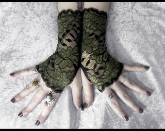Aibreann Lace Fingerless Gloves - Dark Fern Green Leaf Black Gold Highlight - Gothic Vampire Lolita Wedding Fetish Tribal Goth Gypsy Moss