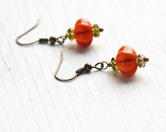 Summer Outdoors Halloween Earring Little Pumpkin Earrings Green Peridot Earrings Small Orange Turquoise Earrings Bridesmaids Gift