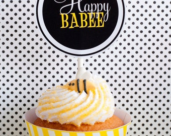 Bee Baby Shower PRINTABLES Party Circles (INSTANT DOWNLOAD) from Love The Day