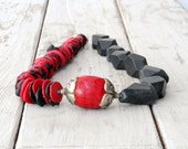 Onyx and Coral Necklace, Big Chunky Necklace, Red and Black Jewelry, Oversize Statement Necklace, One of A Kind Santorini Fine Jewelry