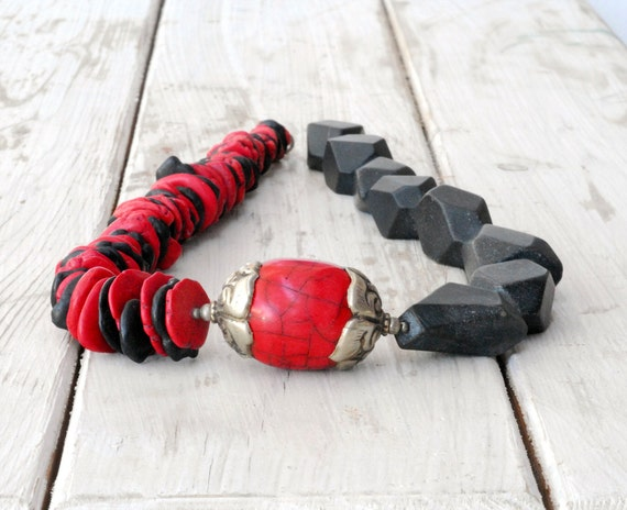 RESERVED for Cheryl - Onyx and Coral Necklace, Big Chunky Necklace, Red and Black Jewelry, Oversize Statement Necklace