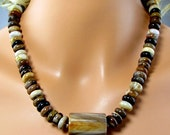 LP 834 Smooth, Fossilized, Petrified Opalized Wood Heishi,Tube Beads In Brown,Cream,Grey,Gold,Black, 14KGF Beads,Rolo Chain OOAK Necklace
