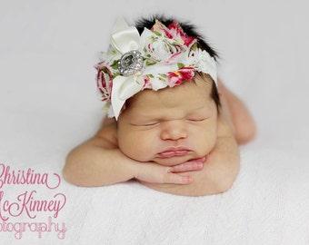 English Garden pink cream shabby vintage style flower, newborn, baby, any size, chiffon headband, newborn,photo prop
