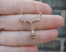 Woodland Necklace - Gold Pinecone Pendant on Rustic Tree Branch . Nature Jewelry . Holidays Fashion . Gift Ideas for Her