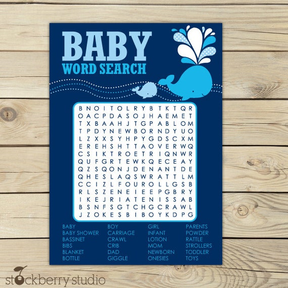 Whale Baby Shower Word Search Game Printable - Navy Blue Nautical Baby Shower Game - Instant Download - Boy Baby Shower Party Games