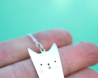 kitty pendant cat necklace cat pendant sterling silver cat cartoon jewelry anime inspired