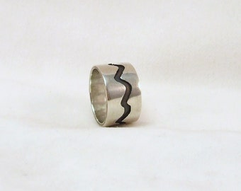 Silver River-Ring, Handmade, Unique Gift,  size 4 1/4 , ready to ship, other sizes are made to order,