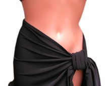Sarong Cover Up Classic Black Beach or Pool Tie On Shirt Wrap Around Skirt Bathing Suit Cover Up for Women and Teens Beach Skirt