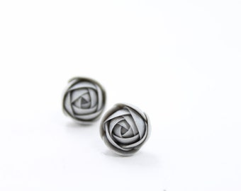 Silver Ranunculus Stud Earrings Wholesale Small Hypoallergenic Flower Studs Birthday Wedding Bridal Women Jewelry Earrings Women Accessory