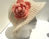 Crochet PATTERN - Two Bucket Sunhats with Rose and 2 Scarves