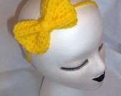 BOGO FREE SALE Crochet Bow Headband in Yellow Lemon Bright