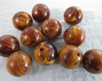 20 Vintage 11mm Faux Jasper Lucite Beads Bd447