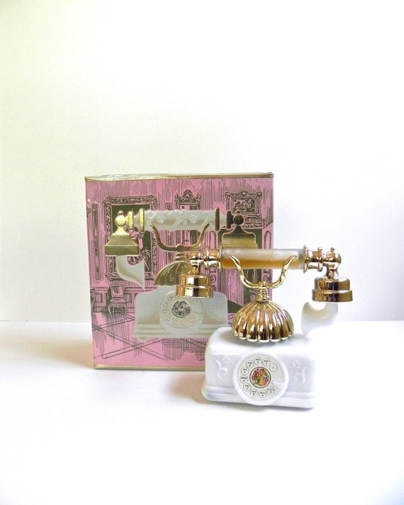 AVON  French Telephone 1971 In Box Charisma...  Perfume and Foaming Bath Oil... Collectible Avon