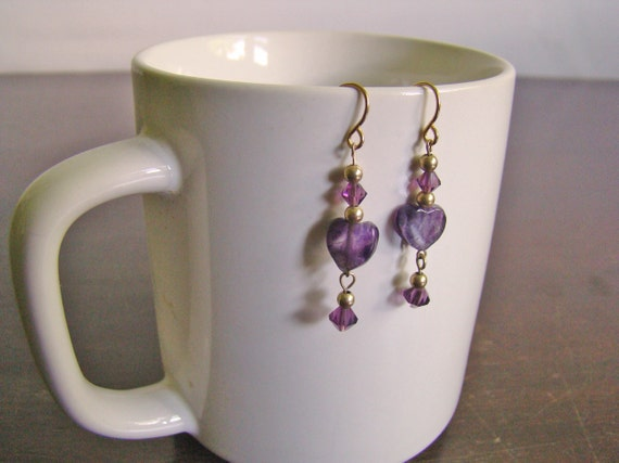 tiny vintage amethyst heart earrings
