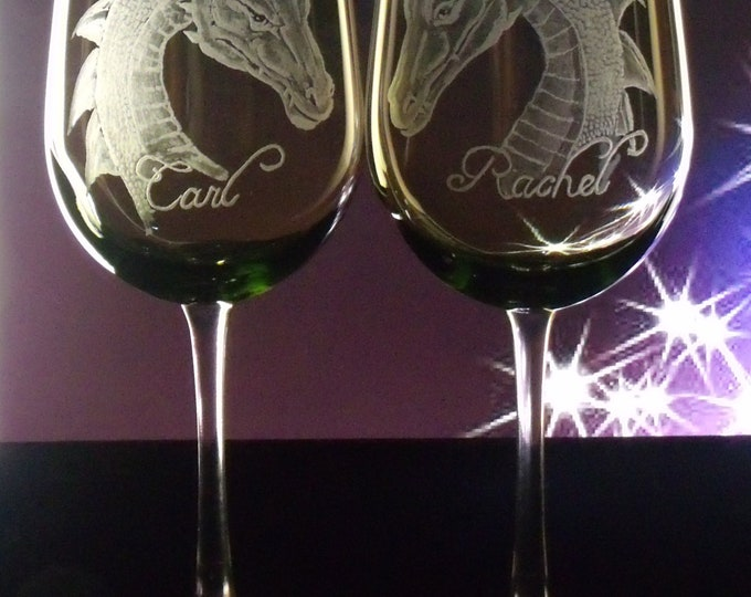 Wine glasses Dragon glass wedding goblets  hand engraved olive green or clear glassware bride  groom green wedding