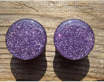 Lavender Glitter Plugs - 2g, 0g, 00g, 7/16, 1/2, 9/16, 5/8, 3/4, 7/8, 1 Inch