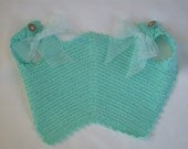 Handmade, Crochet, 1930's, Reproduction,Teal, Baby, Red, Orange, Pinafore, Baby, Girl, Bib