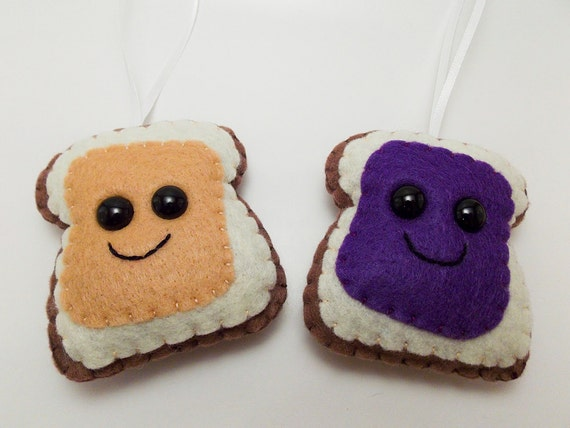 Peanut Butter & Jelly Felt Ornament set