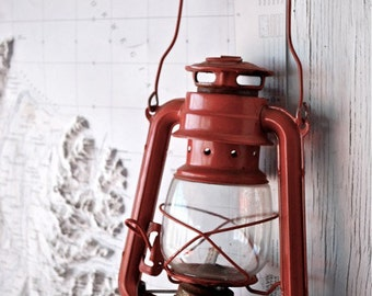 Rustic Red Lantern: Iceland - Travel Photography [Nautical Nordic Scandinavian / Pop of Red / Vintage Topographic Map Camping / Oil Lamp]