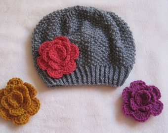 Grey Beanie with Gold, Fuchsia, Holly Berry Flowers. Beanies for Girls. Girl's Beanie. Hand knitted Beanies. Made to order Beanies